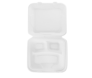 "Take-Out Container, hinged, Size: 9""x9"", 3-Compartment, Material: Sugarcane Fiber, Color: White, Compostable, 200/cs"