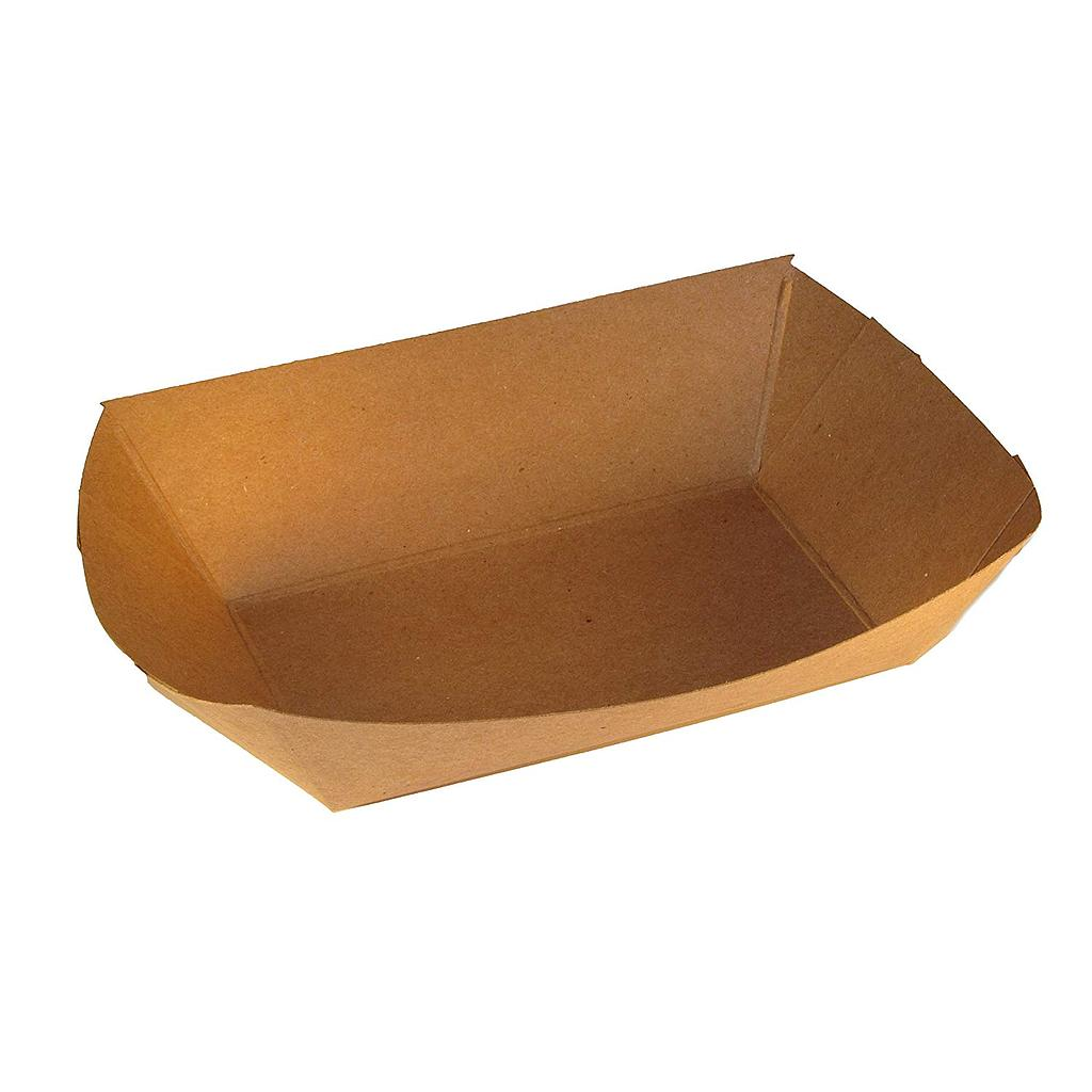 Food Tray, Capacity: 2 lb, Uncoated Paper, Color: Kraft, Compostable, 1000/cs