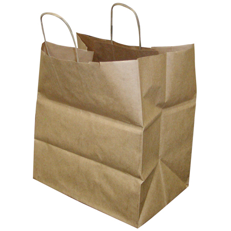 "Paper Bag with Handles, Size: 14""x10""x15.75"", Color: Kraft, Compostable, 200/cs"