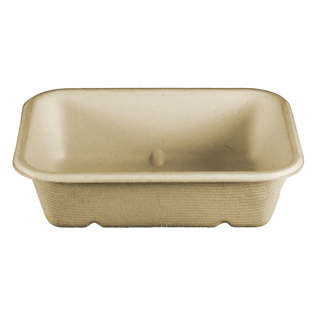 "20 oz Fiber Tray, Size: 6.5""x5""x1.5"", Material: Unbleached Plant Fiber, Color: Natural, Compostable, 600/cs"