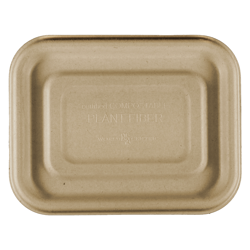 "Lid for 20 oz Fiber Tray, Size: 6.5""x5""x1.5"", Material: Unbleached Plant Fiber, Color: Natural, Compostable, 600/cs"
