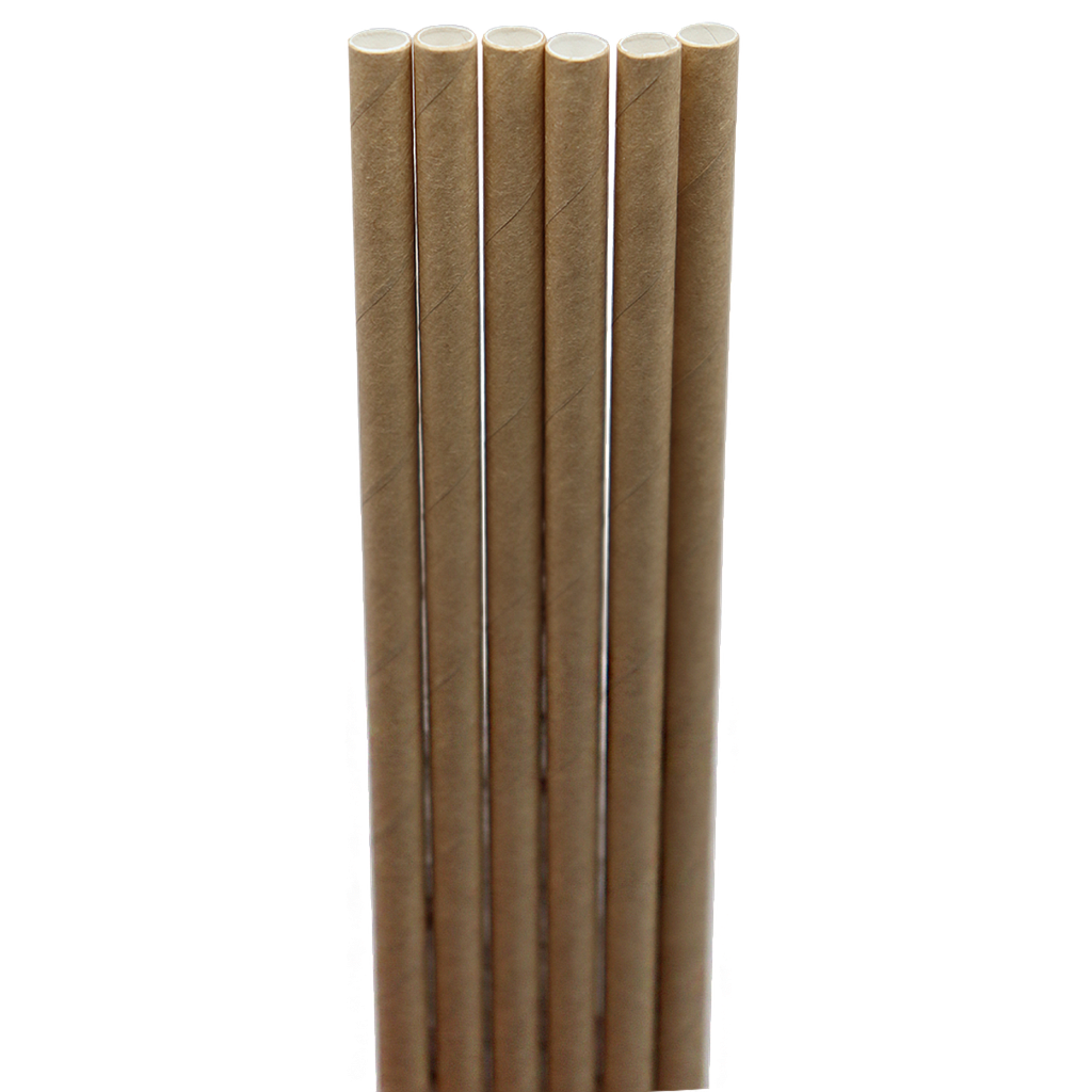 "Jumbo straw, Length: 8"", Unwrapped, Color: Natural, Material: Paper, Compostable, 6000/cs"