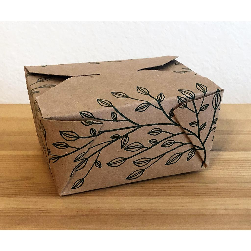 "Fold-To-Go Container Eco-Box #1, Size: 4.5""x3.75""x2.5"", Color: Kraft, Compostable, 450/cs"
