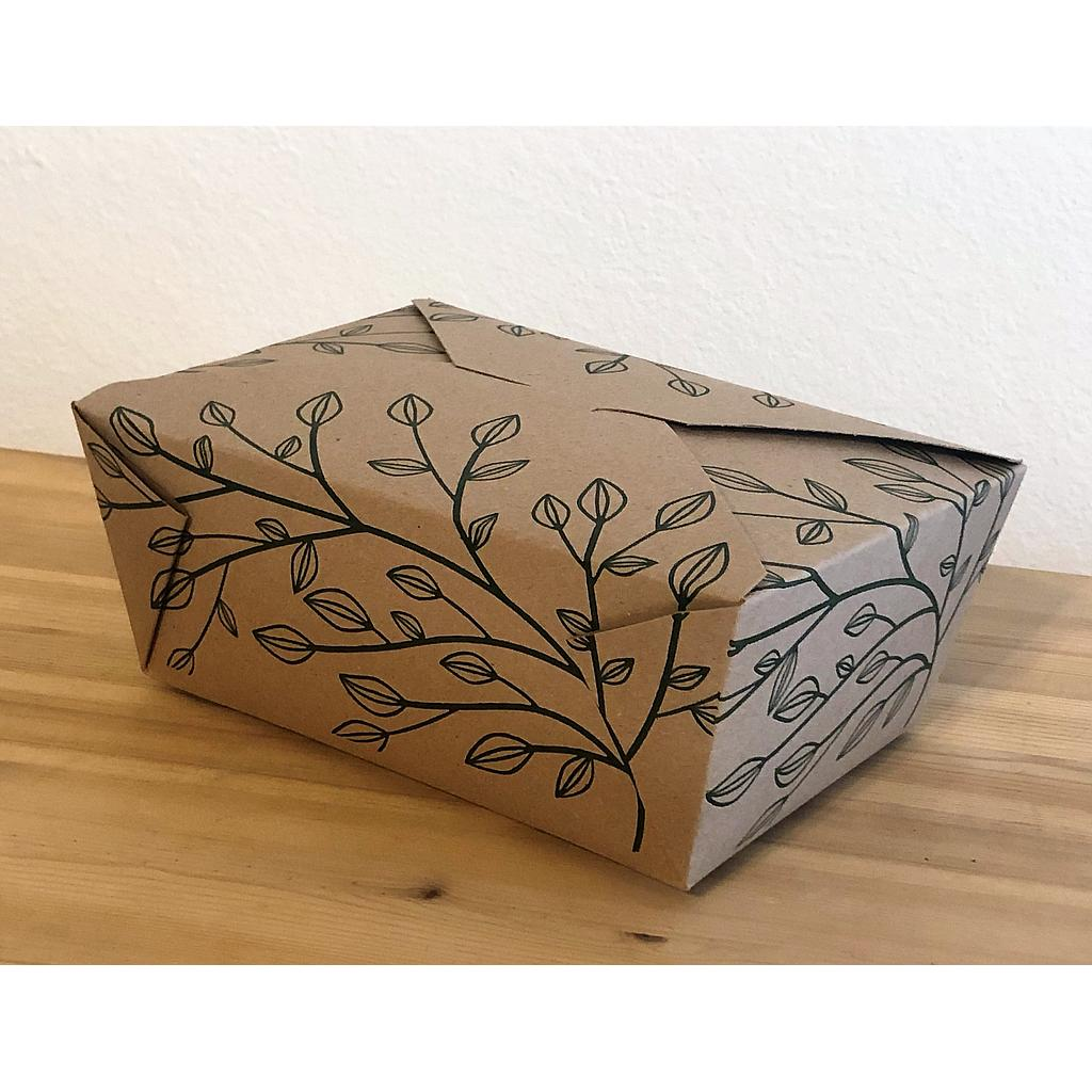 "Fold-To-Go Container Eco-Box #4, Size: 8""x5.75""x3.5"", Color: Kraft, Compostable, 160/cs"