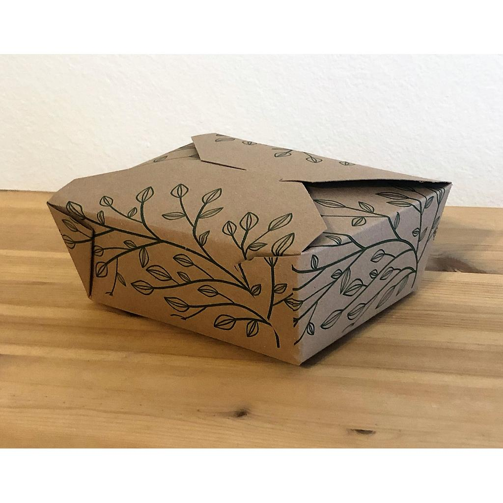 "Fold-To-Go Container Eco-Box #8, Size: 6""x4.75""x2.5"", Color: Kraft, Compostable, 300/cs"