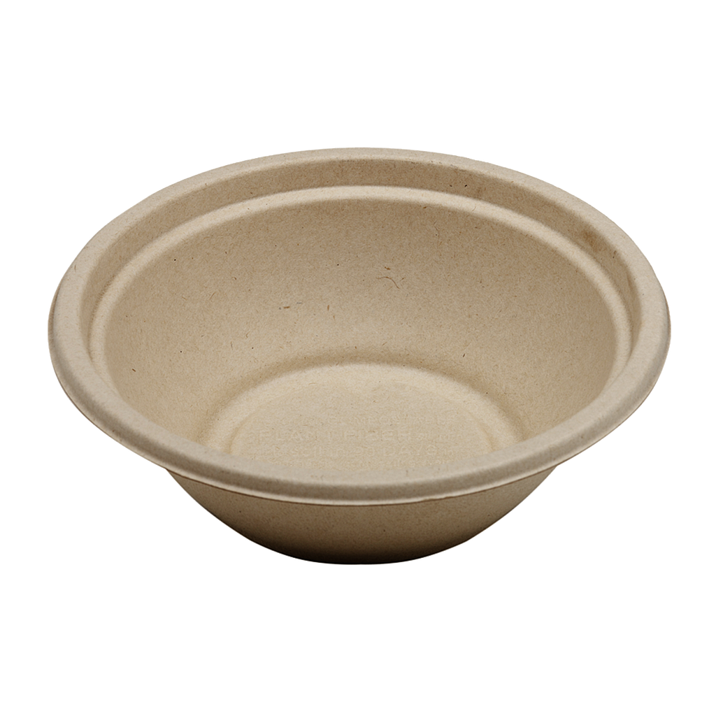 *SPECIAL ORDER ITEM* 24 oz Fiber Round Bowl, Material: Unbleached Plant Fiber, Color: Natural, Certified Compostable, 500/cs *SEE DETAILS BELOW*